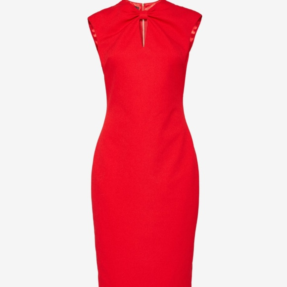 b00759c5138681 Ted Baker Size 4 KEZZIA Bow neck bodycon dress RED